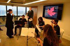 Rocinha Music School String Quartet gets ready to perform at the Canadian Consulate - July 1, 2015